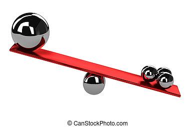Imbalance - The shiny metal balls on the balance