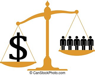 Conceptual financial and business vector illustration of a brass antique pendulum scale with people on one pan and a dollar sign on the other showing imbalance weighted in favour of the dollars