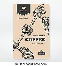 imballaggio, caffè, disegno