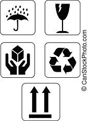imballaggio, fragile, set, icone