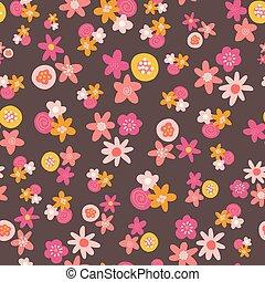 imballaggio, giallo, appartamento, fiori, decorativo, oro, stampa, seamless, carta da parati, scandinavo, rosa, superficie, scuro, decorazione, modello, retro, stilizzato, tessuto, fondo., bambini, vettore