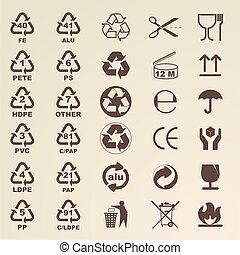 imballaggio, grafici, icone