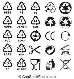 imballaggio, icone, per, grafici