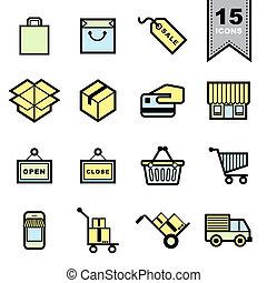 imballaggio, set, icone