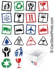 imballaggio, set, stamps., illustrazione