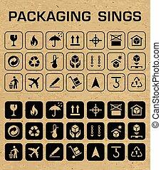 imballaggio, vettore, set, icone