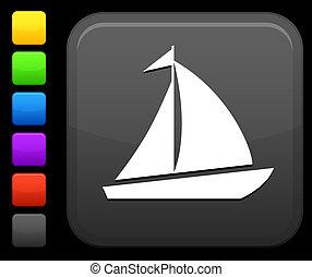 imbarcazione vela, icona, su, quadrato, internet, bottone