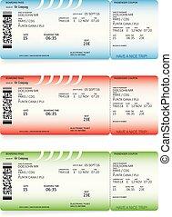 imbarco, biglietti, blu, verde, linea aerea, passare, rosso