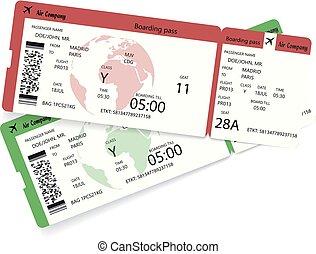 imbarco, biglietti, due, aereo, linea aerea, passare