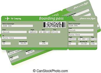 imbarco, biglietti, modello, due, verde, linea aerea, passare