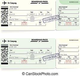 imbarco, biglietti, verde, viaggiare, passare, linea aerea