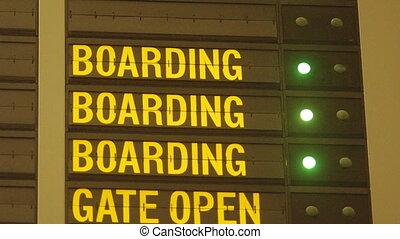 imbarco, messaggio, in, aeroporto