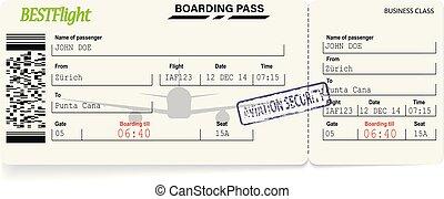 imbarco, modello, verde, linea aerea, passare