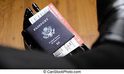 imbarco, stati uniti, borsa, passaporto, passare