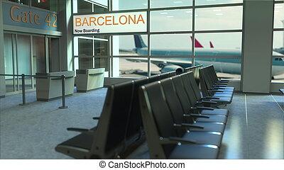 imbarco, volo, barcellona, terminal., interpretazione, aeroporto, concettuale, viaggiante, ora, spagna, 3d