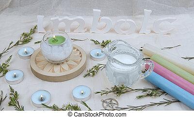 imbolc, altar, flores, verde, velas, sabbath.