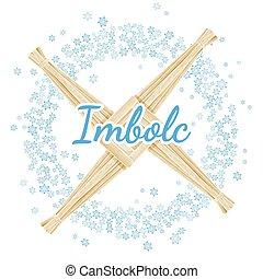 imbolc, ghirlanda, vettore, snowflakes., segno., croce, primavera, pagano, vacanza, inizio, brigid's, cartolina