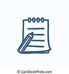 imbottitura schizzo, penna, icon., scrittura