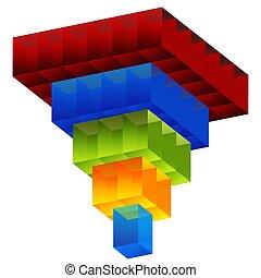imbuto, cubo, modellato, grafico, a più livelli, quadrato, 3d