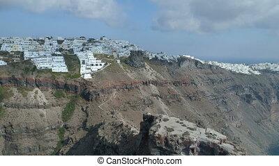 Imerovigli village on the island of Santorini, aerial view