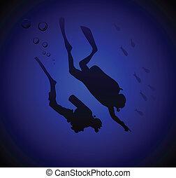 imersão, mergulhadores, profundo