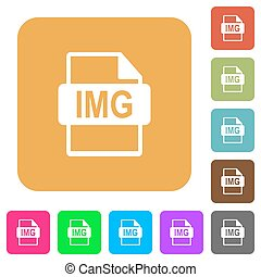 IMG file format flat icons on rounded square vivid color backgrounds.