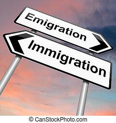 imigração, ou, emigration.