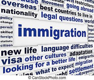 imigração, palavras, criativo