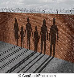 imigração, pessoas, ligado, borda