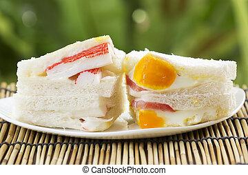 Imitation Crab and egg Ham sandwich