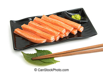 Imitation Crab Stick in plate on white background