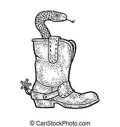 imitation., habillement, croquis, design., image., noir, botte, planche, cow-boy, dessiné, égratignure, main, gravure, illustration., blanc, serpent, vipère, vecteur, t-shirt, impression