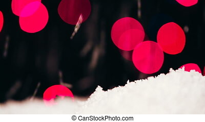 Imitation of falling snow on a bokeh background.