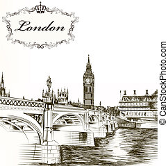 Imitation of retro detailed hand drawn card with London for...