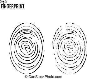imitation., vektor, fingeraftryk