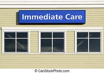 immédiat, soin, signe, dehors, hôpital, bâtiment