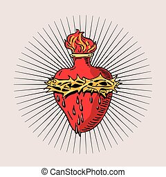 Immaculate Heart of Blessed Virgin Mary tattoo illustration...