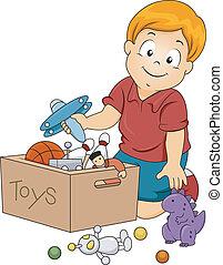 immagazzinare, giocattoli, capretto, ragazzo