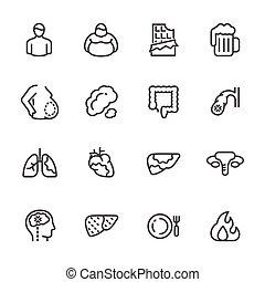 immagazzinare, organi addominali, cancro, lungs., dietetico, icone, fat., grasso, o, vettore, pancia, linea, viscerale, organi, interno, cause, fegato
