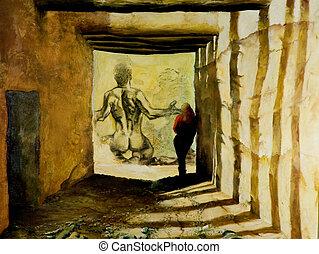 immaginazione, di, tunnel