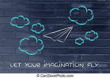 immaginazione, set, tuo, libero