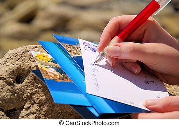immagine, 05, cartolina, -, scrittura, schreiben, ansichtskarte
