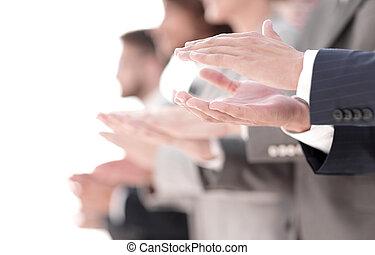 immagine, applauso, affari, team., sfocato