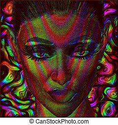 immagine, arte digitale, faccia, donna