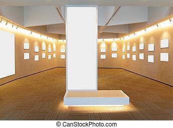 immagine, arte, stanza, cornici, galleria, vuoto