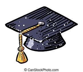 immagine, berretto, graduazione, cartone animato, icon., educazione, simbolo