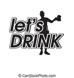 immagine, bevanda, tazza, lasciarli, birra, vettore, fondo, uomo