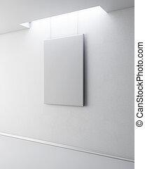 immagine, bianco, vuoto, 3d., wall.