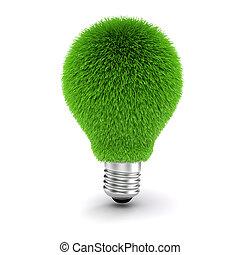 immagine, bulbo, sostenibile, luce, 3d, concetto, energia