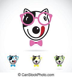 immagine, cane, fondo., vettore, bianco, occhiali